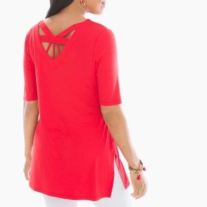Chico's Zenergy Back-Detail Tunic is Runaway Red